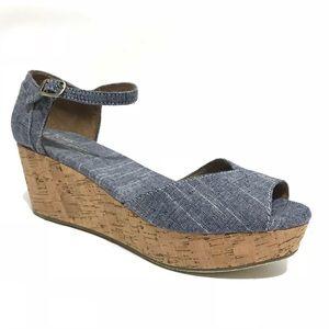 Toms Wedges Sandals Size 8.5 Blue Denim New Ankle